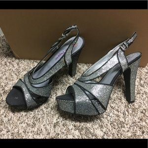 Sparkly silver and black heels size 10.